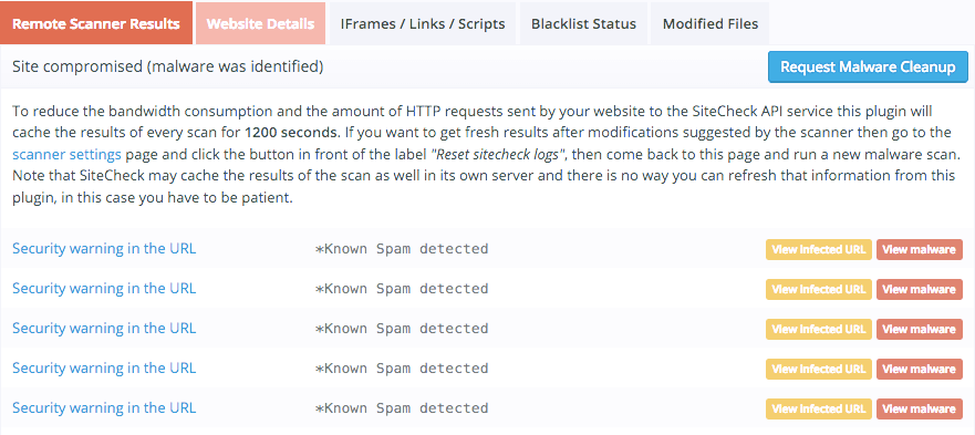 Hacked website tool